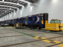 A new Scotrail train leaves the factory.