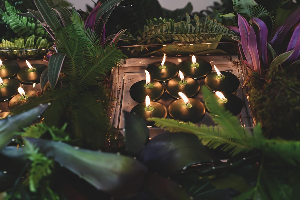 Table decorations - Sandhole Oak Barn Wedding