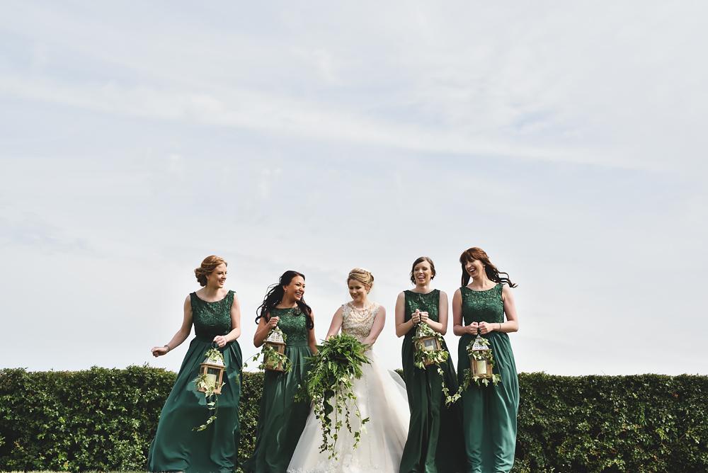 Bridesmaids having fun - Sandhole Oak Barn Wedding