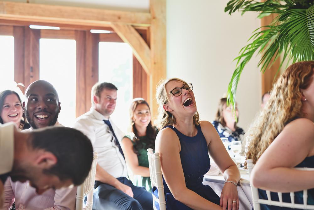 Laughter - Sandhole Oak Barn Wedding