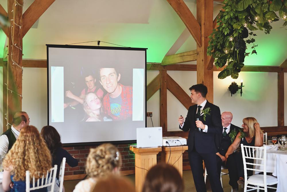 The speech - Sandhole Oak Barn Wedding