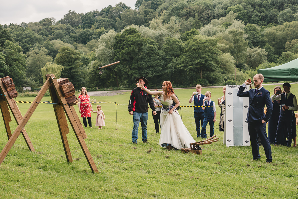 Axe throwing at Whitebottom Farm Wedding in Stockport