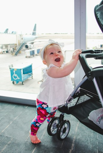 baby playing in airport