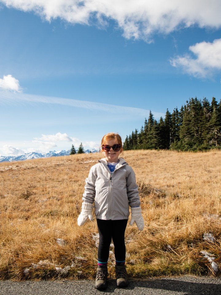 Little girl hiking in Olympic National Park, Washington
