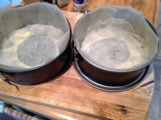 lined cake tins