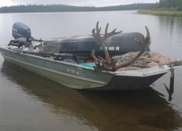 Derek Franklin AK caribou hunt Wetlander 3L on boat