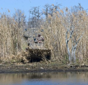 Hunting from an airboat