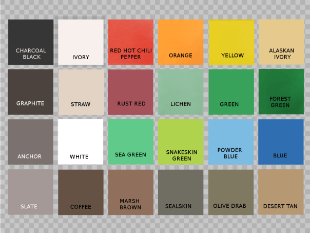Color chart for Wetlander slick boat bottom coating.  Contains 24 colors.