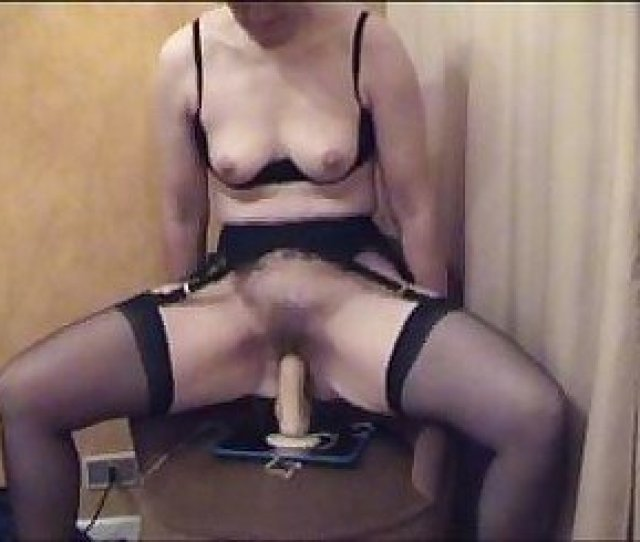 Mature Hairy Pussy Riding A Big Dildo On Real Orgasm