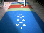rubber pathway in blue with number