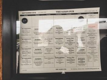 Weekly schedule at Saxon Pub, Austin