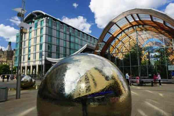 Best Things to do in Sheffield England Anne Slater-Brooks Winter Gardens exterior in Sheffield town square