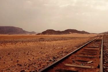 Historische Gleise, Wadi Rum, Jordanien