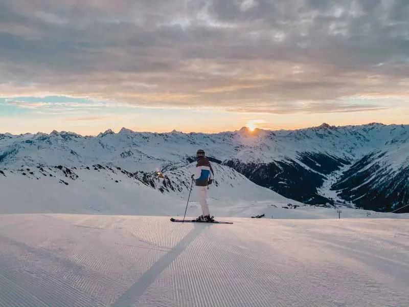 Davos early bird Ski fahren zum Sonnenaufgang