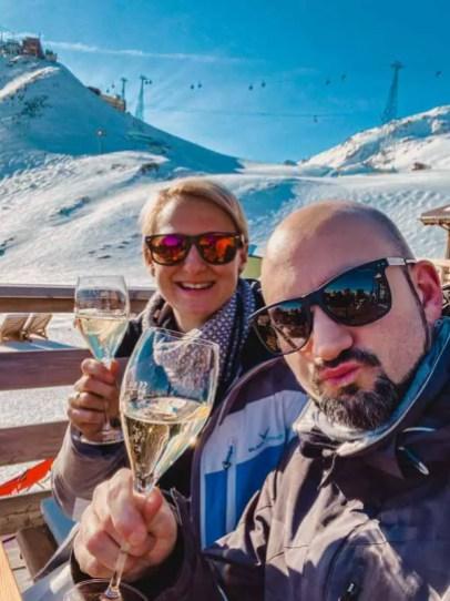 Davos Aktivitäten: Mittagspause mit Prosecco Ski fahren
