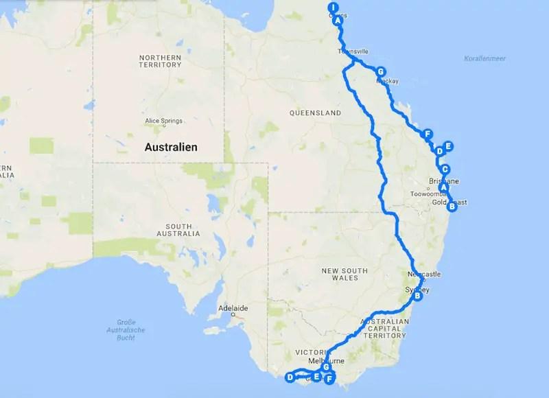 Karte Australien Und Umgebung.Rundreise Australien Die 6 Besten Australien Routen Und Reisetipps