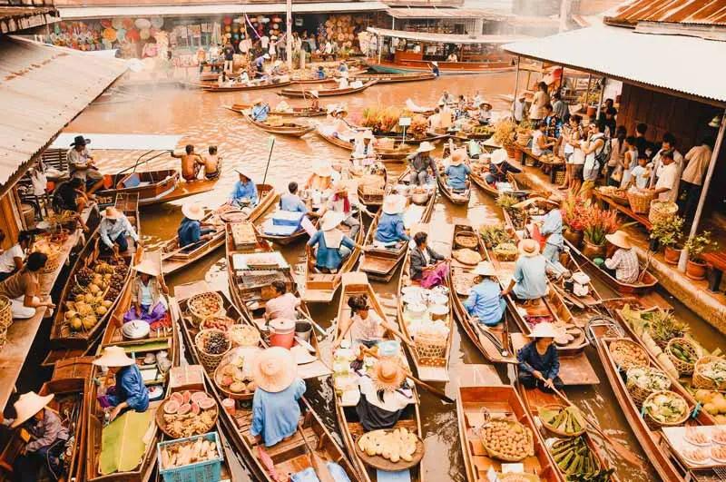 Bangkok Sehenswürdigkeiten Floating Market Schwimmender Markt