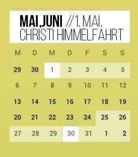 Brückentage 2019 1. Mai Christi Himmel
