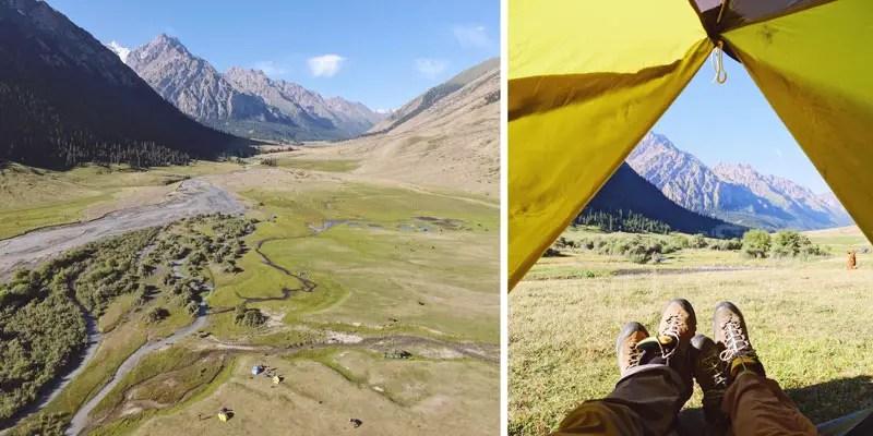 Camp beim Trekking in Kirgistan