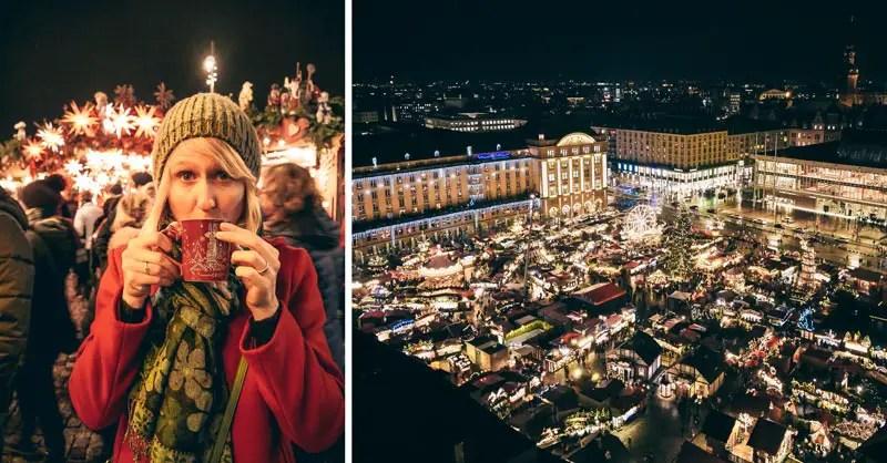 Dresden Sehenswürdigkeiten im Winter Weihnachtsmarkt Striezelmarkt
