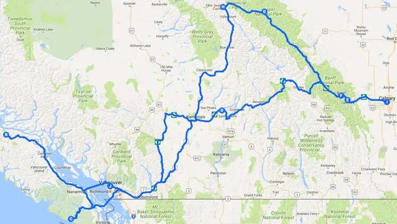 Kanada route westen