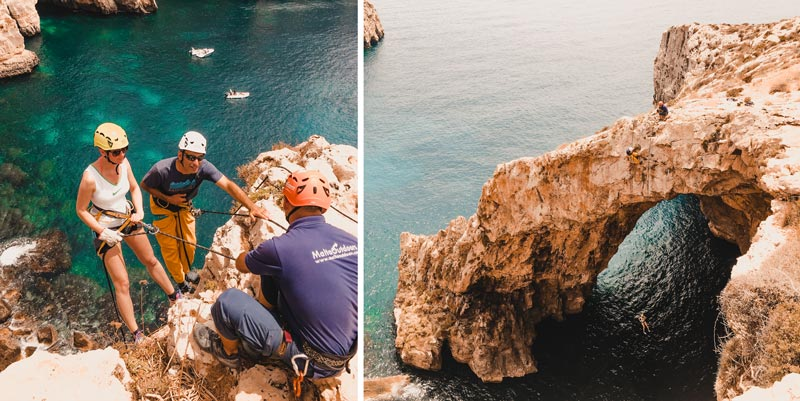 Malta Highlights Abseiling Blaue Grotte