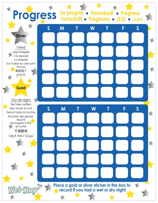 Wet-Stop rewards chart for bedwetting progress.