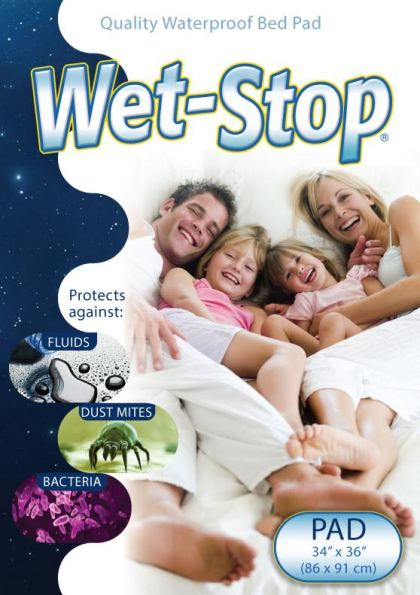 "Wet-Stop bed pad, 34"" x 36"", waterproof and washable"