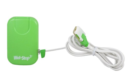 Wet-Stop 3+ wearable bedwetting alarm and sensor cord, shown in green.