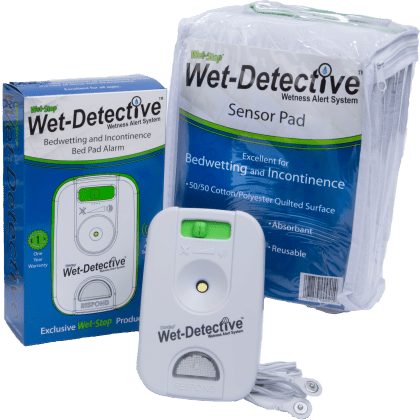 Wet-Detective bed pad alarm system for bedwetting and incontinence. Standard kit with one sensor pad.