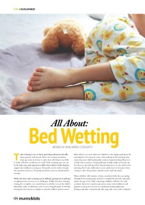 Mums & Tots Irish magazine article about Bed Wetting, page 1