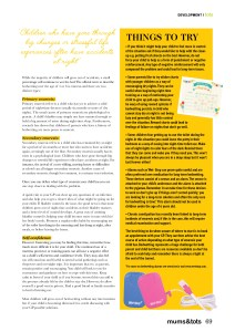 Mums & Tots Irish magazine article, bed wetting & Wet-Stop 3+, page 2
