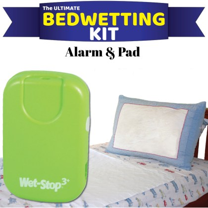 Green bedwetting alarm system kitted together with a waterproof mattress pad for drier nights.