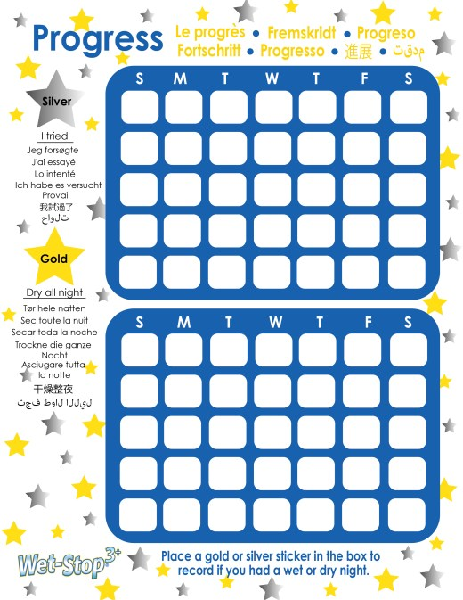Wet-Stop 3+ reward chart - use gold and silver star stickers to mark progress towards the goal of no bedwetting and dry nights.