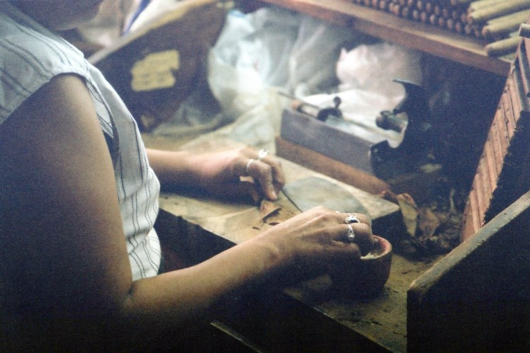 Hand rolled cigar factory