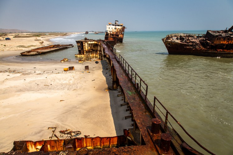 Outside hull of an abandoned ship along the Angolan Coast.