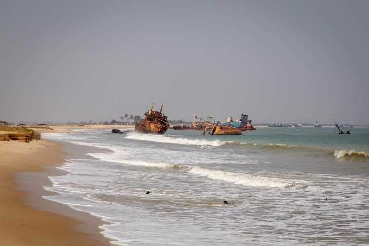 View of derelict ships on the beaches of the Angolan Coast.
