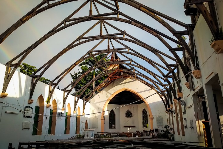 Dominica travel blog - bamaged church in Roseau.