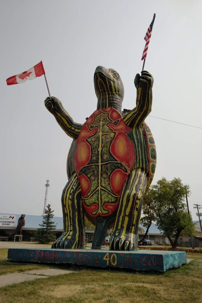 Tommy the Turtle.  Official mascot of Boissevain, Manitoba.