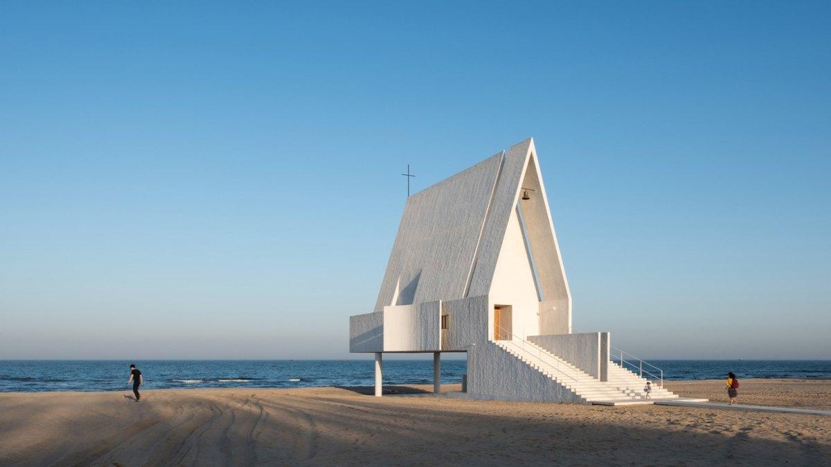 white chapel on the beach