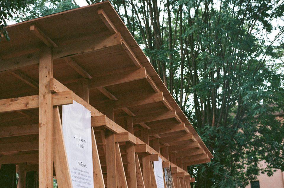 wooden panic pavilion detail