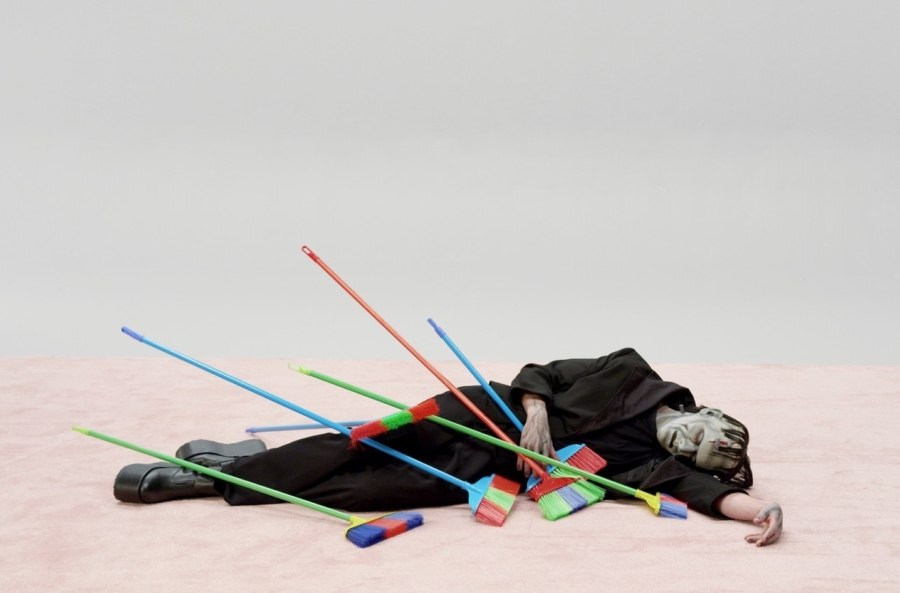 installation, man with brooms
