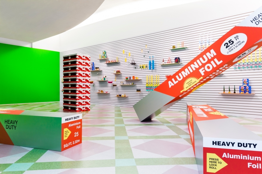 scaled packaging, art installation