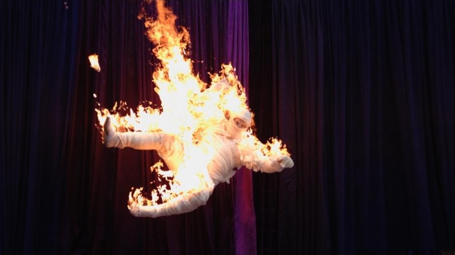 fire, man falling