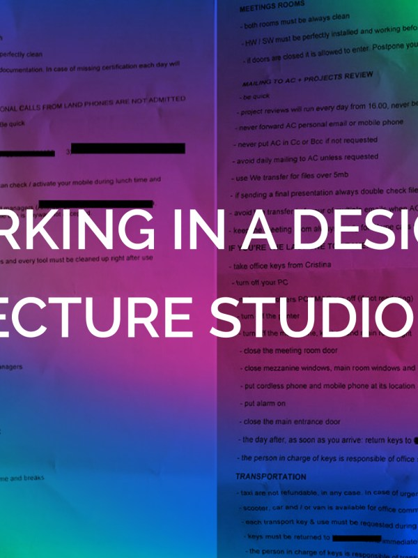 WORKING IN A DESIGN/ARCHITECTURE STUDIO IN ITALY