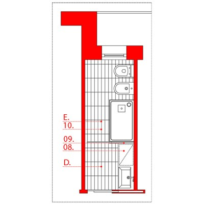 bagno lungo e stretto wevux scuola di interni soluzioni corridoio 05