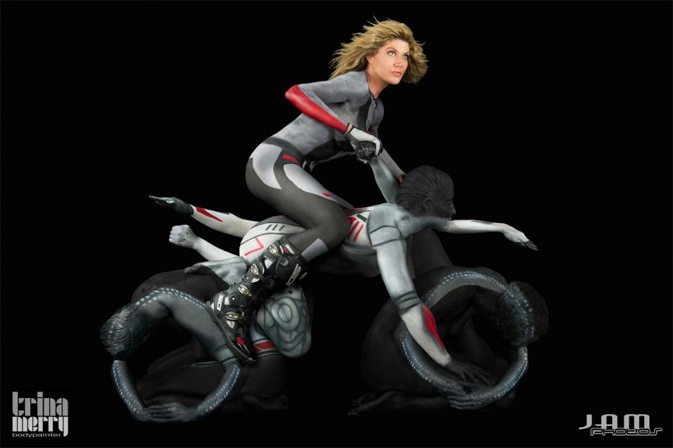 Human-motorbike-bodypaint
