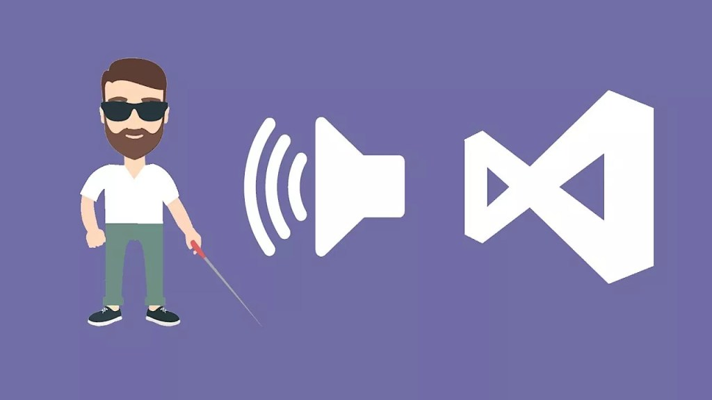 A visually impaired person icon with white cane and Microsoft Visual Studio logo on purple background.