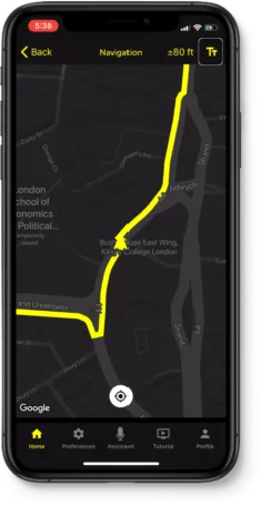 WeWALK low vision friendly map screen on the phone