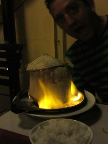 Neil's dinner in a coconut on fire!